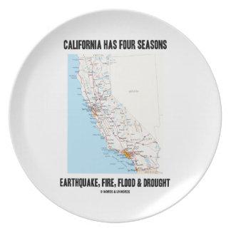 California Has Four Seasons Earthquake Fire Flood Dinner Plate