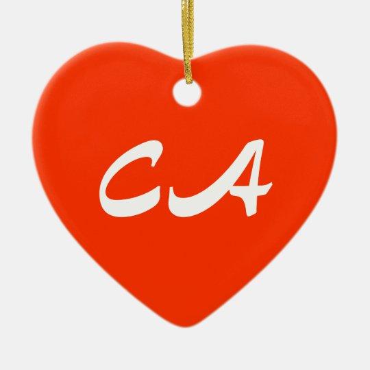 California Heart Ornament