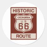California histórica RT 66 Pegatinas Redondas