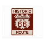California histórica RT 66 Tarjeta Postal