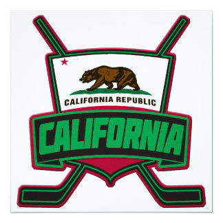 California Hockey Logo Shield 5.25x5.25 Square Paper Invitation Card