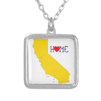 California Home - Blue and Gold Square Pendant Necklace