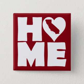 California Home Heart State Button Badge Pin