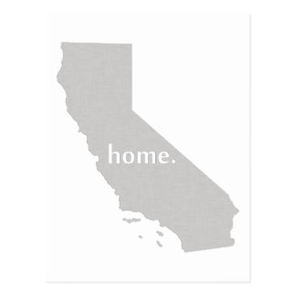 California home silhouette state map postcard