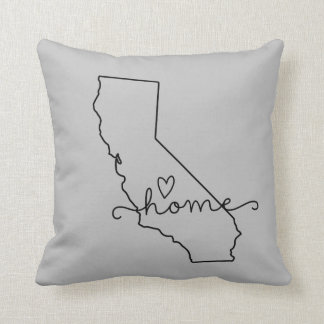 California Home State Love, Movable Location Heart Throw Pillow