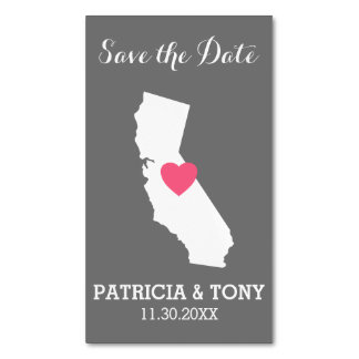 California Home State Love with Custom Heart Business Card Magnet