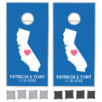California Home State Love with Custom Heart Cornhole Set