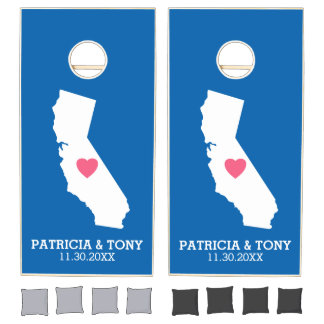 California Home State Love with Custom Heart Cornhole Set
