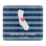 California Home State Love with Custom Heart Cutting Board