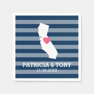 California Home State Love with Custom Heart Paper Napkin