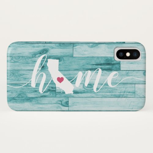 California Home State Turquoise Wood Look Phone Case