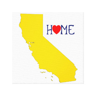 California Home with Blue and Yellow Canvas Print