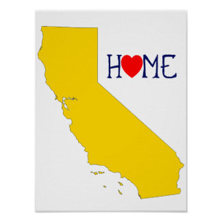 California Home with Yellow and Blue Poster