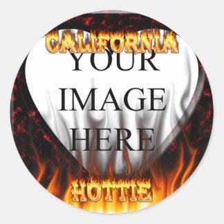 California hottie fire and flames design. classic round sticker