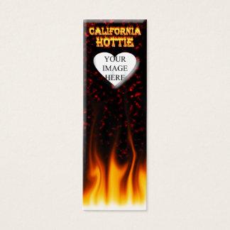 California hottie fire and flames design. mini business card