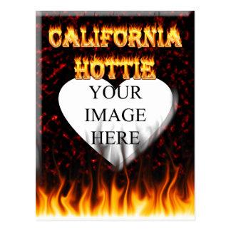 California hottie fire and flames design. postcard