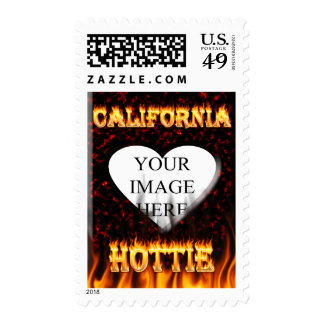 California hottie fire and flames design. stamps