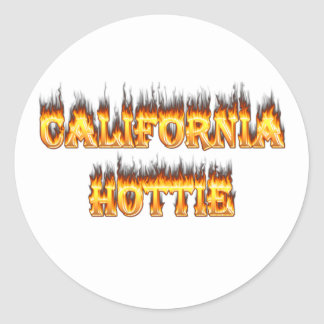California Hottie fire and flames Round Stickers