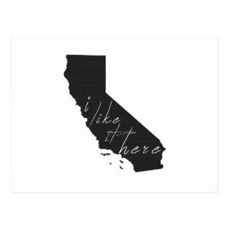 California I Like It Here State Silhouette Black Postcard
