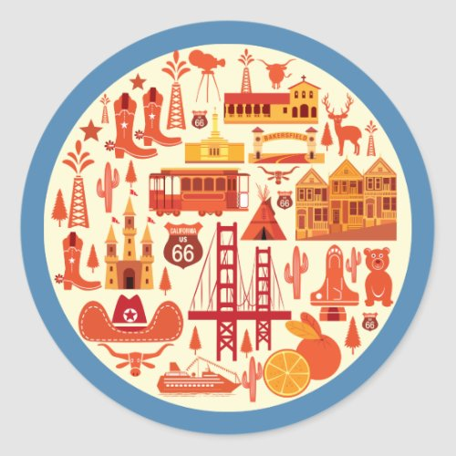 California Icons Classic Round Sticker