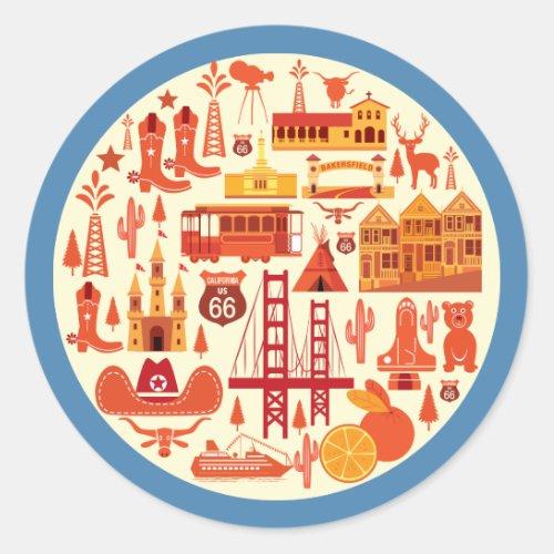 California Icons Classic Round Sticker