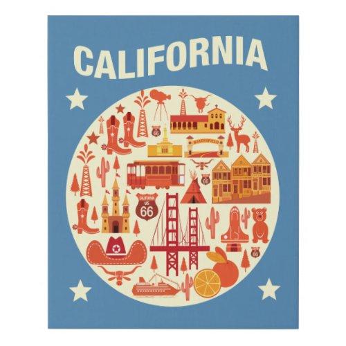 California Icons Faux Canvas Print