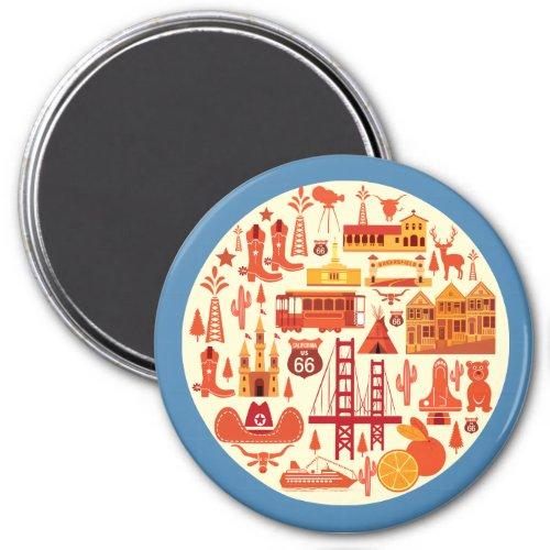 California Icons Magnet