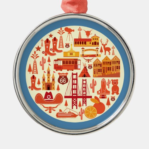 California Icons Metal Ornament