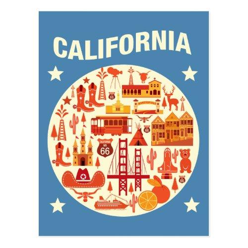 California Icons Postcard