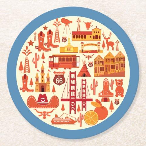 California Icons Round Paper Coaster