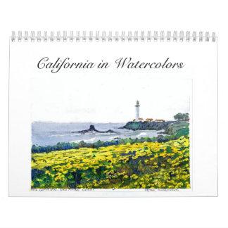 California in Watercolor Paintings Wall Calendar