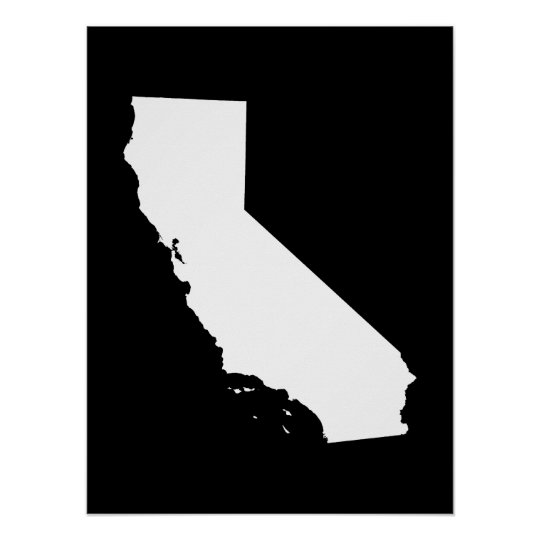 California in White and Black Poster
