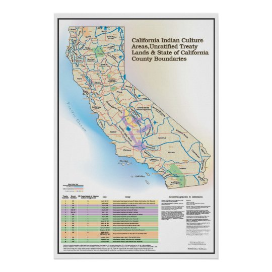 California Indian Culture Areas - Map Poster