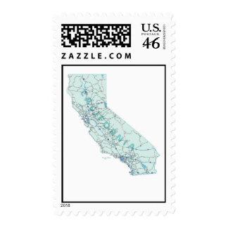 California Interstate Map Postage