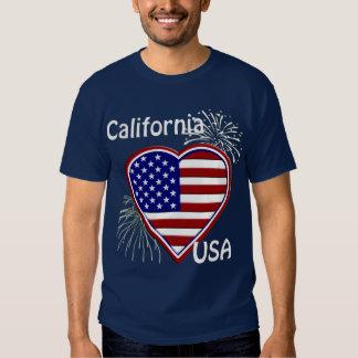 California July 4th Fireworks Heart Flag Navy T T-Shirt