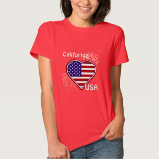 California July 4th Fireworks Heart Flag Red T T-Shirt