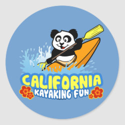 Round Sticker with California Kayaking Fun design
