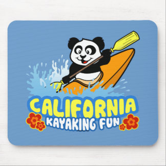 California Kayaking Fun Panda Mouse Pads