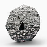 """California Kayaking Kayaker Ocean Sea Award<br><div class=""""desc"""">Cool silhouette of a Kayaker headed out to Sea at sunset  at the Beach,  Photography,   is on this Acrylic Paperweight Award.</div>"""