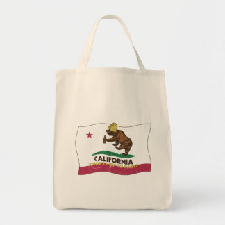California Knows How to Party Bear Grocery Tote Bag