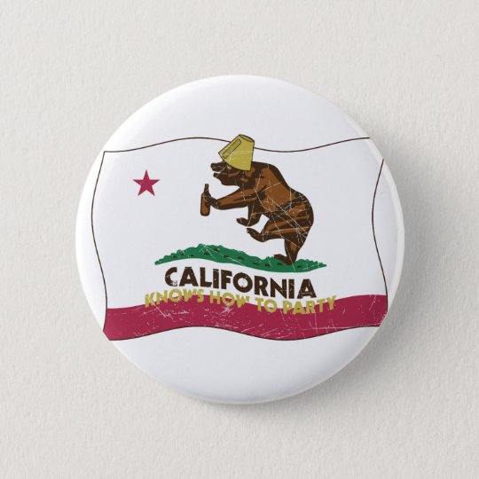 California Knows How to Party Bear Button