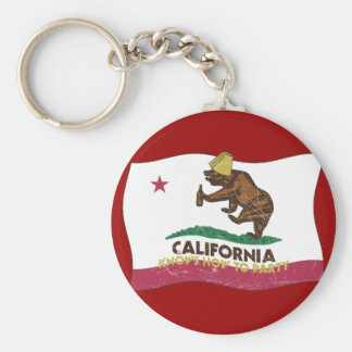 California Knows How to Party Bear Basic Round Button Keychain