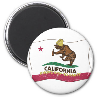 California Knows How to Party Bear 2 Inch Round Magnet
