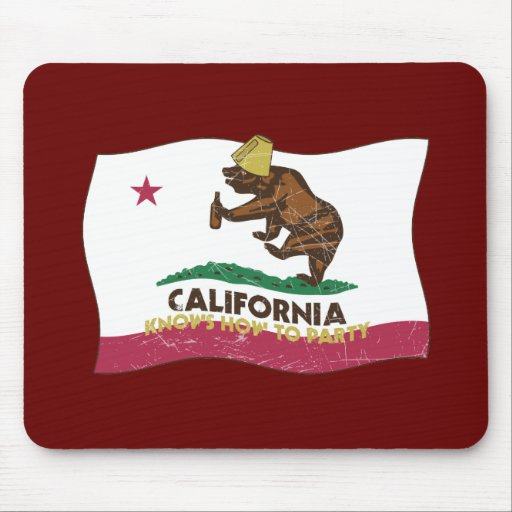 California Knows How to Party Bear Mouse Pads