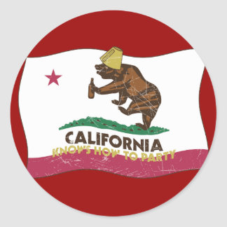 California Knows How to Party Bear Classic Round Sticker