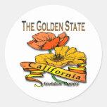 California la amapola de oro del Golden State Pegatinas Redondas