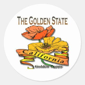 California la amapola de oro del Golden State Pegatina Redonda
