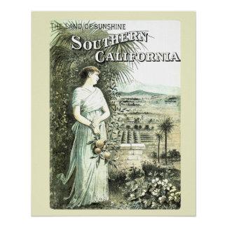 California Land Of Sunshine Vintage Landscape Poster