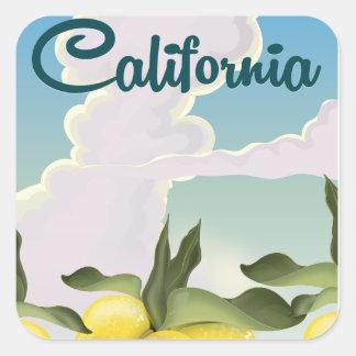 California Lemons Vintage travel print. Square Sticker