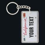 "California License Plate (customizable) Keychain<br><div class=""desc"">Insert your name (or any other text). You can also change the month and the year,  if you like,  and even the color of the year stamp by clicking &quot;Customize it!&quot; and then on the right &quot;Select printed background color&quot;.</div>"